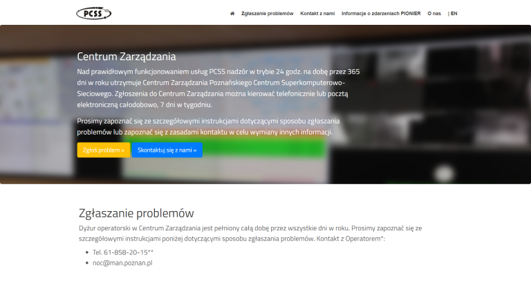 Nowa odsłona serwisu internetowego Centrum Zarządzania PCSS