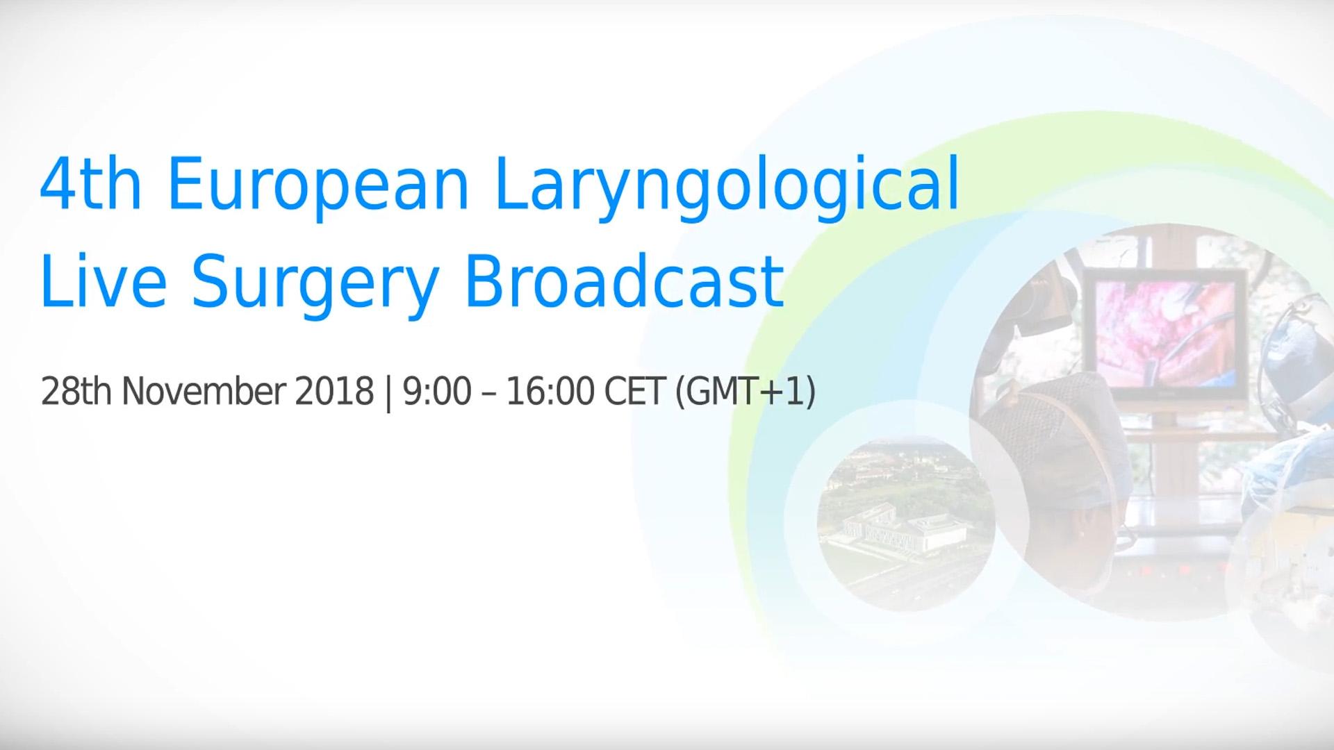 """IV edycja Europejskiej Sesji Internetowej """"Chirurgia Laryngologiczna LIVE"""""""
